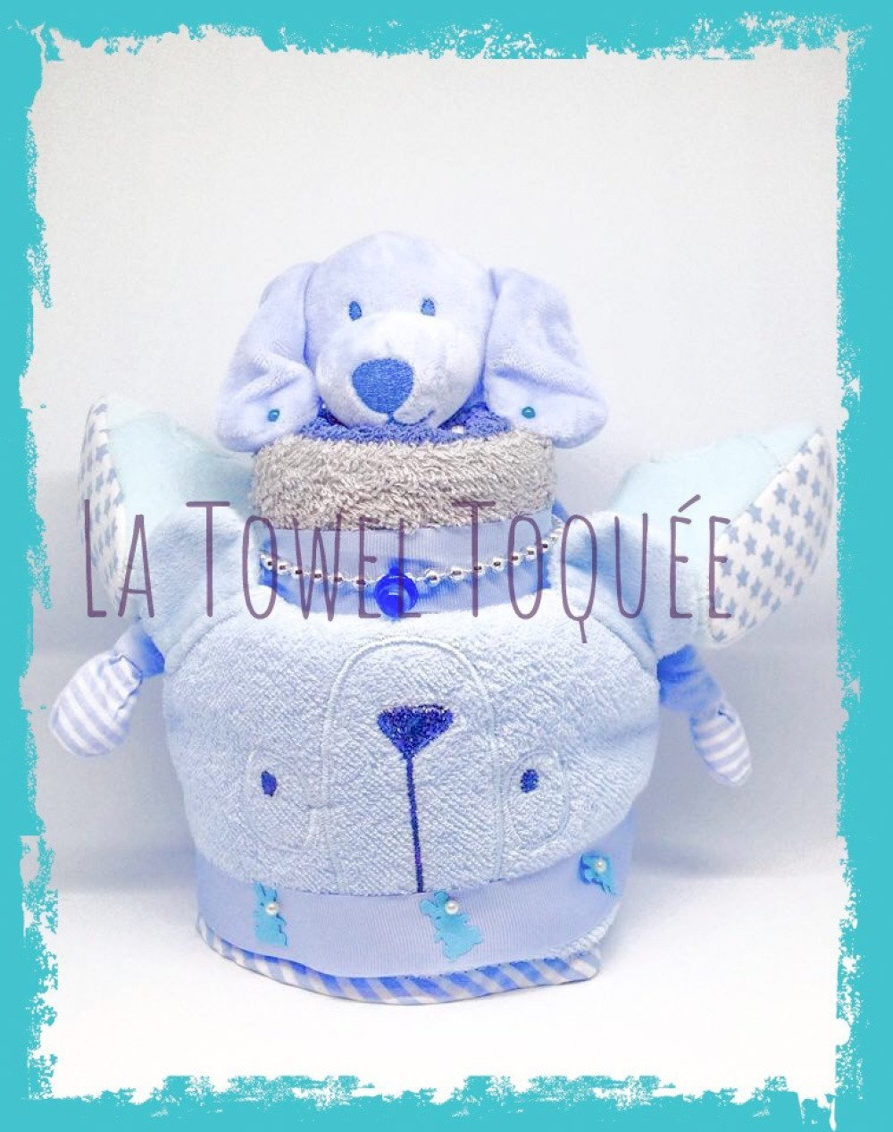 Cadeau naissance ton bleu - Gâteau serviette bébé - Cadeau bébé