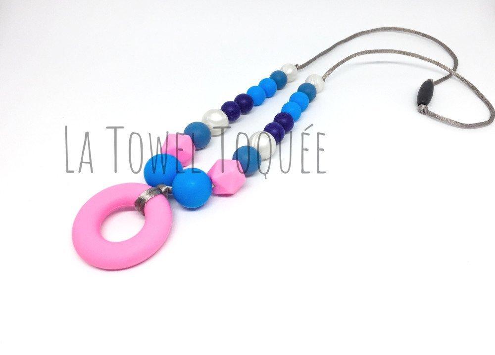 Collier de Portage et d'Allaitement silicone ton rose et bleu + pochette offerte