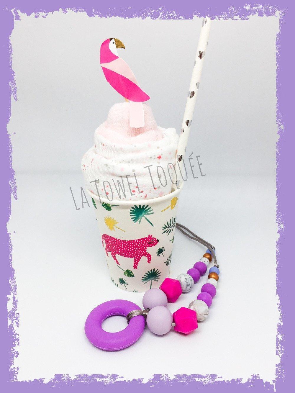 Milkshake Body bavoir + Collier allaitement silicone caché coloris rose violet - Emballage collier surprise