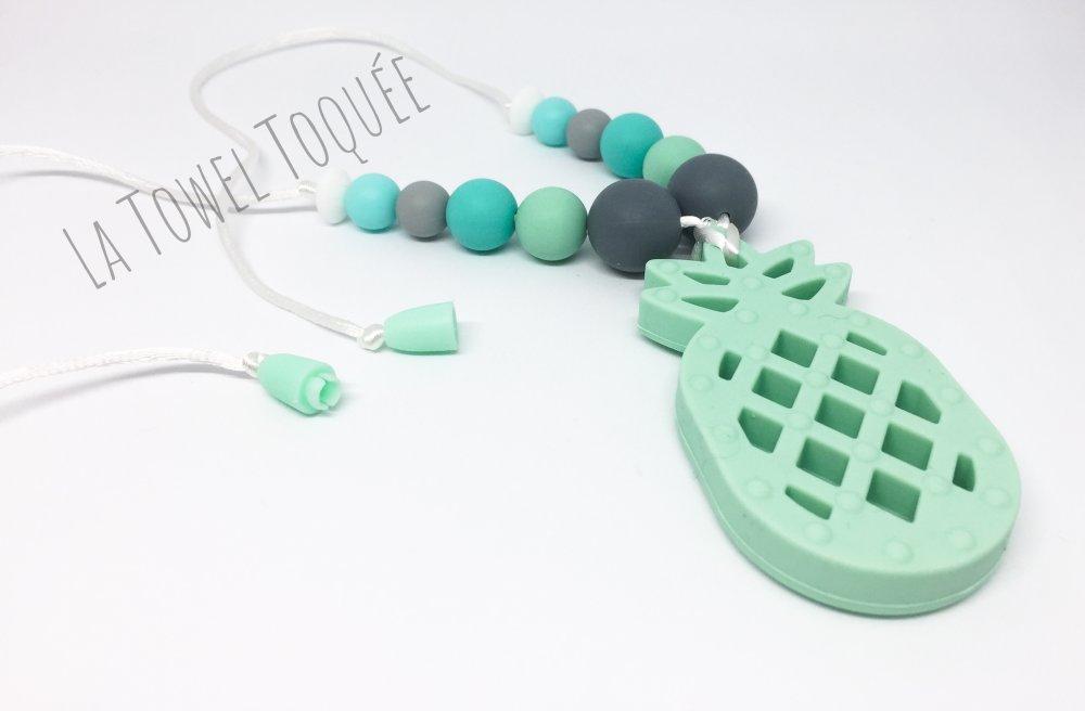 Bijou d'allaitement en perles silicone et anneau de dentition Ananas - Collier de portage  - cadeau naissance