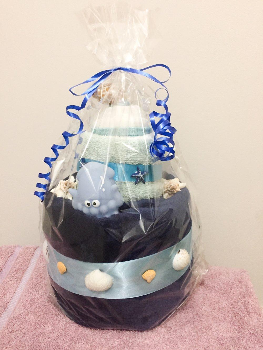 Cadeau naissance original - Gâteau textiles jusque 24 mois - Surprise babyshower - Modèle Mer/Océan