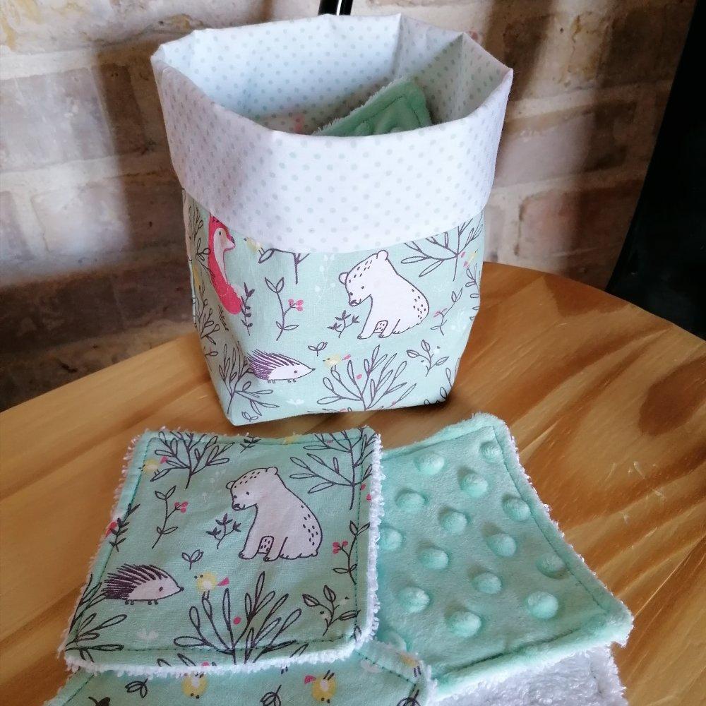 Lingette lavable - Collection Ourson & ses copains, lot de 10 lingettes lavables et son panier assorti