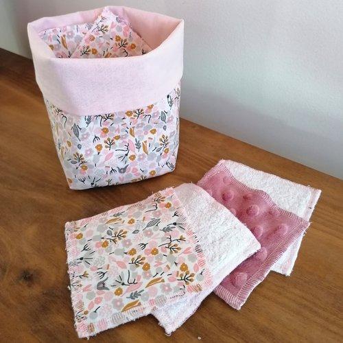 Lingettes lavables (lot de 14) et son panier - collection fleurs d'eté