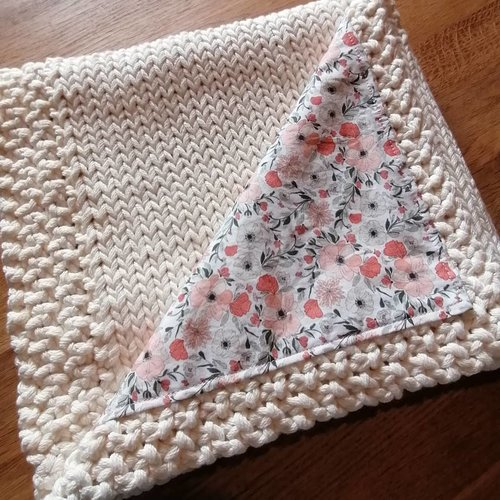 Couverture bébé en tricot - collection mon coquelicot / sur commande