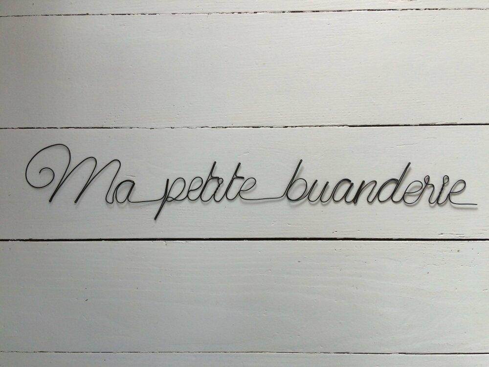 """Phrase citation murale en fil de fer """" Ma petite buanderie """" décoration murale lettre plaque de porte cadeau, poème, déco poétique, wire"""