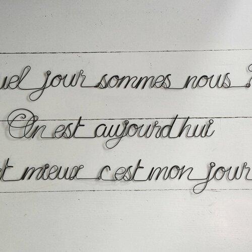 Phrase Citation En Fil De Fer Mot Décoration Murale Bonheur