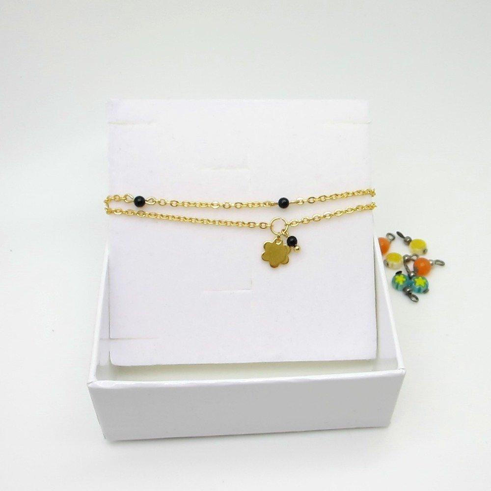 Bracelet femme, tout en acier inoxydable doré, bracelet 2 rangs, bracelet fin, ajustable, petites perles, pendentif fleur, noir