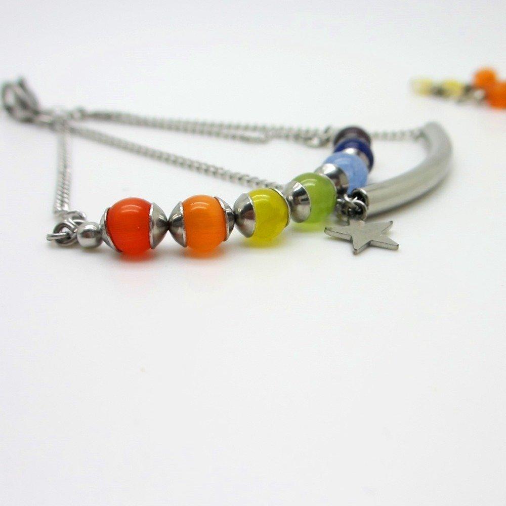 Bracelet rainbow, acier inoxydable, ajustable, 2 rangs, bracelet perles, arc en ciel, chaîne, pendentif étoile,idée cadeau femme