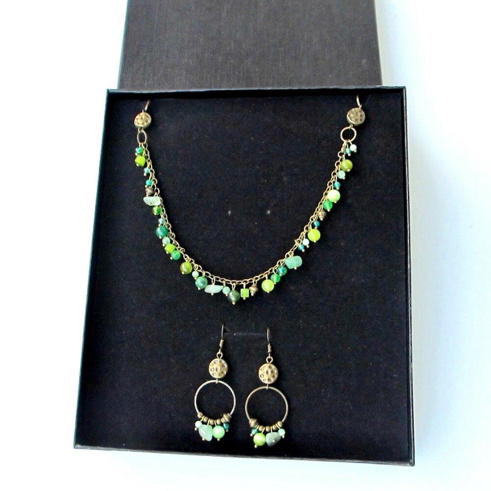 Collier court vert et bronze, collier perles et pierres fines, collier & boucles d'oreilles bronze, fait main, bijou créateur, bohème