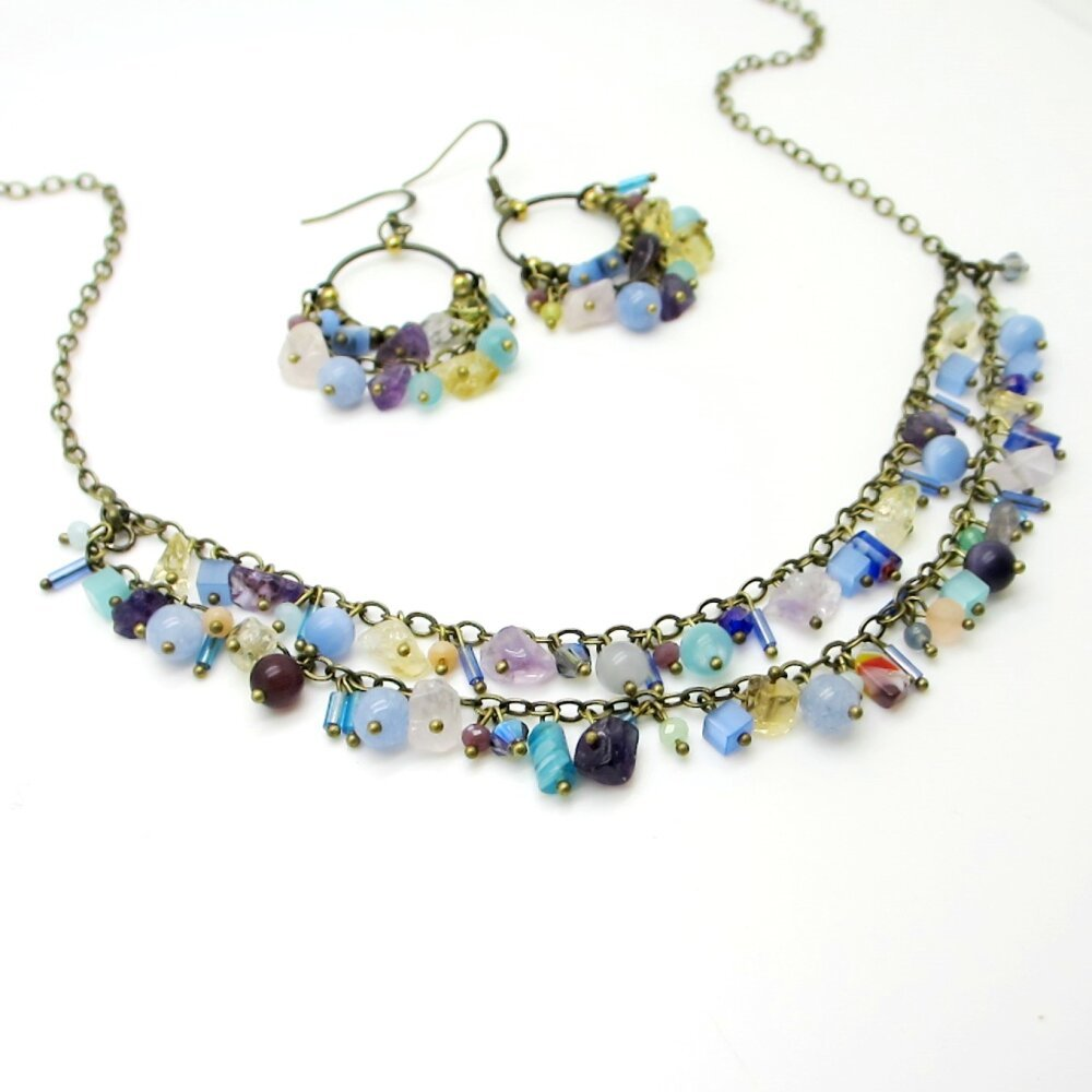 Collier 2 rangs, collier perles, bronze et bleu et violet, pierres fines, boucles d'oreilles,fait main,bijou créateur bohème