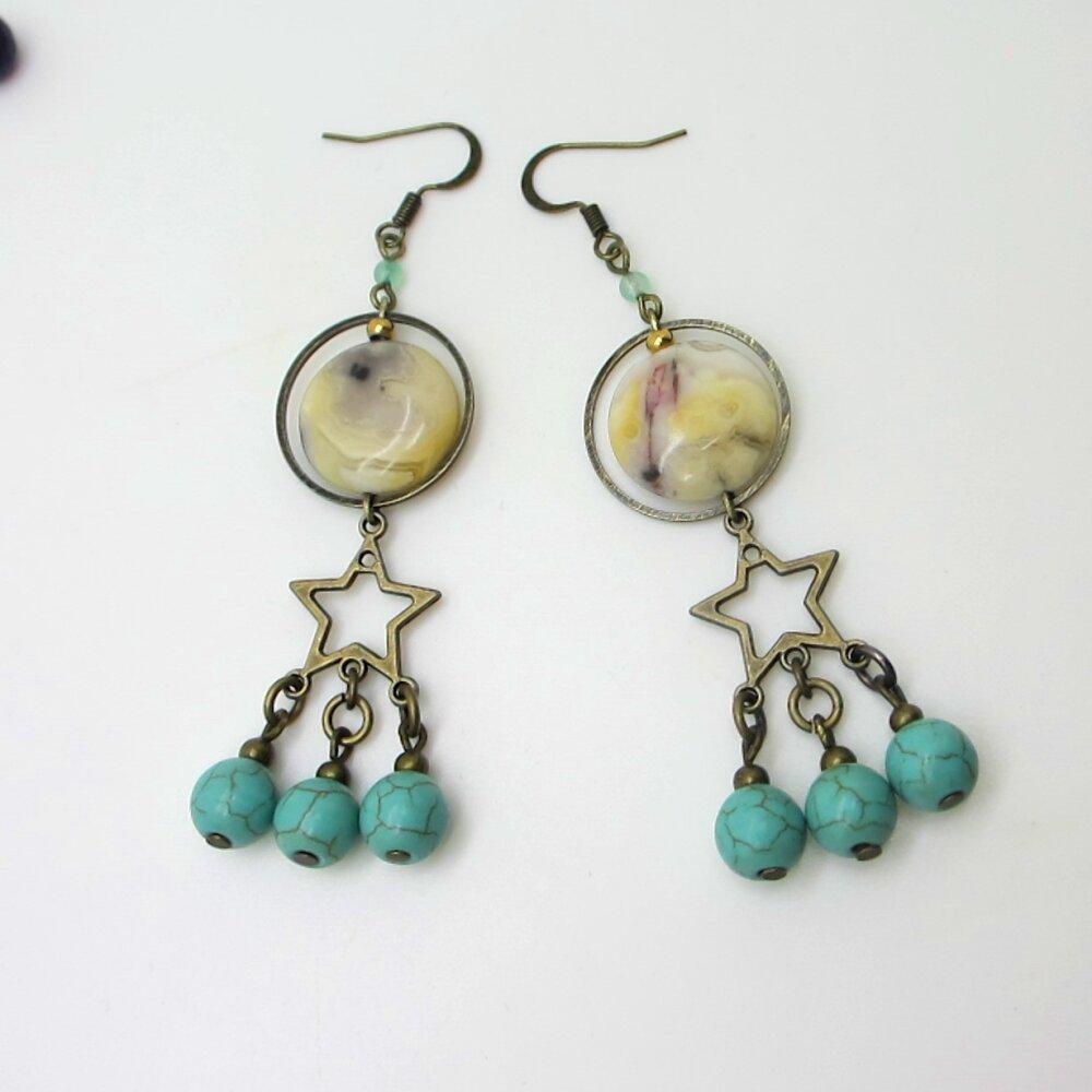 Boucles d'oreilles bronze, boucles d'oreilles pendantes, cercles, perles, étoiles, couleur bronze-turquoise-beige, perles naturelles