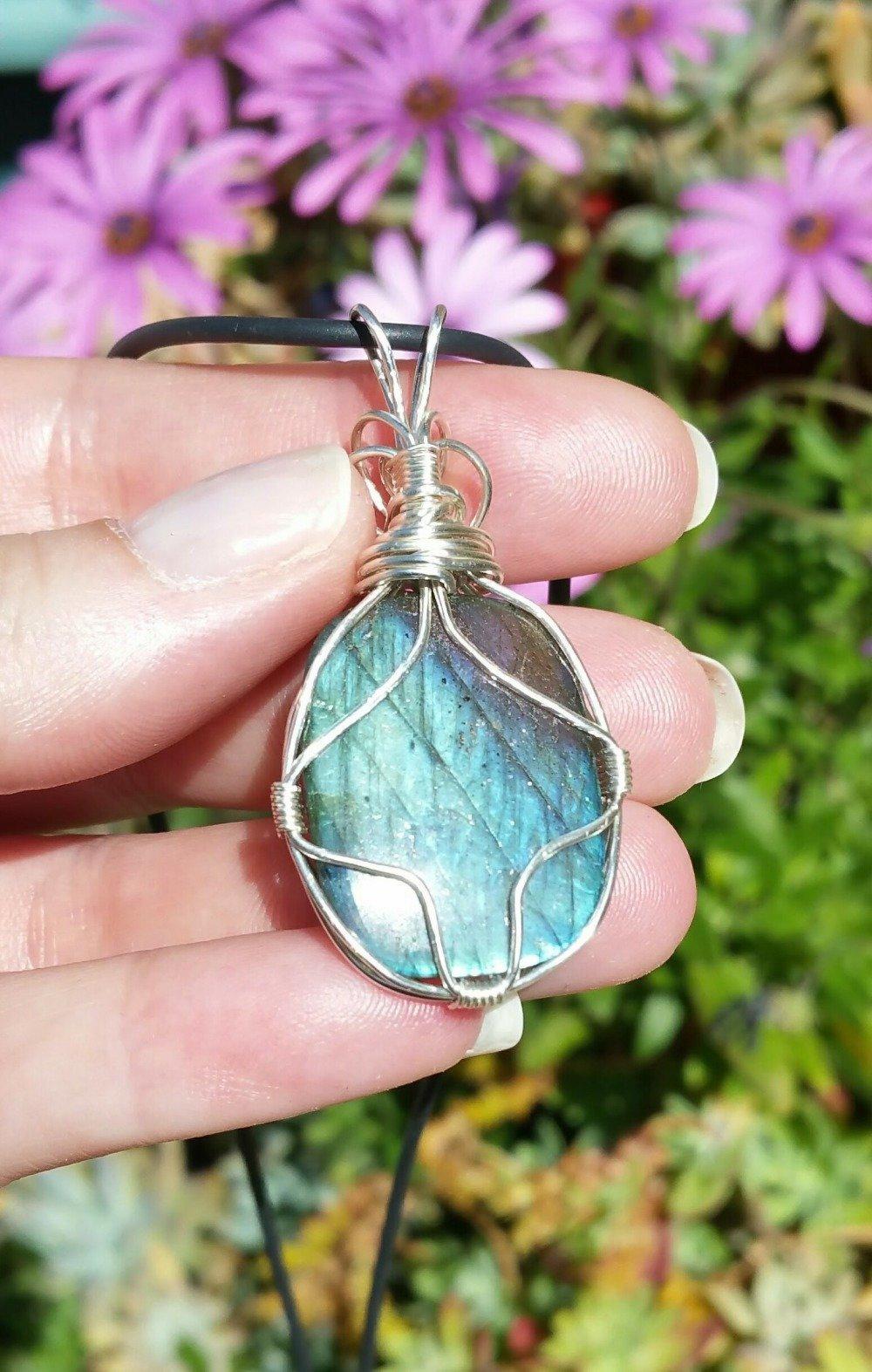 VENDU, Pendentif Labradorite bleue - Collier labradorite bleue - Argent massif 950 - pierre fine protectrice - qualité AAA +