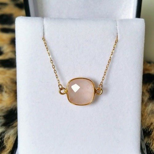collier ras de cou quartz rose