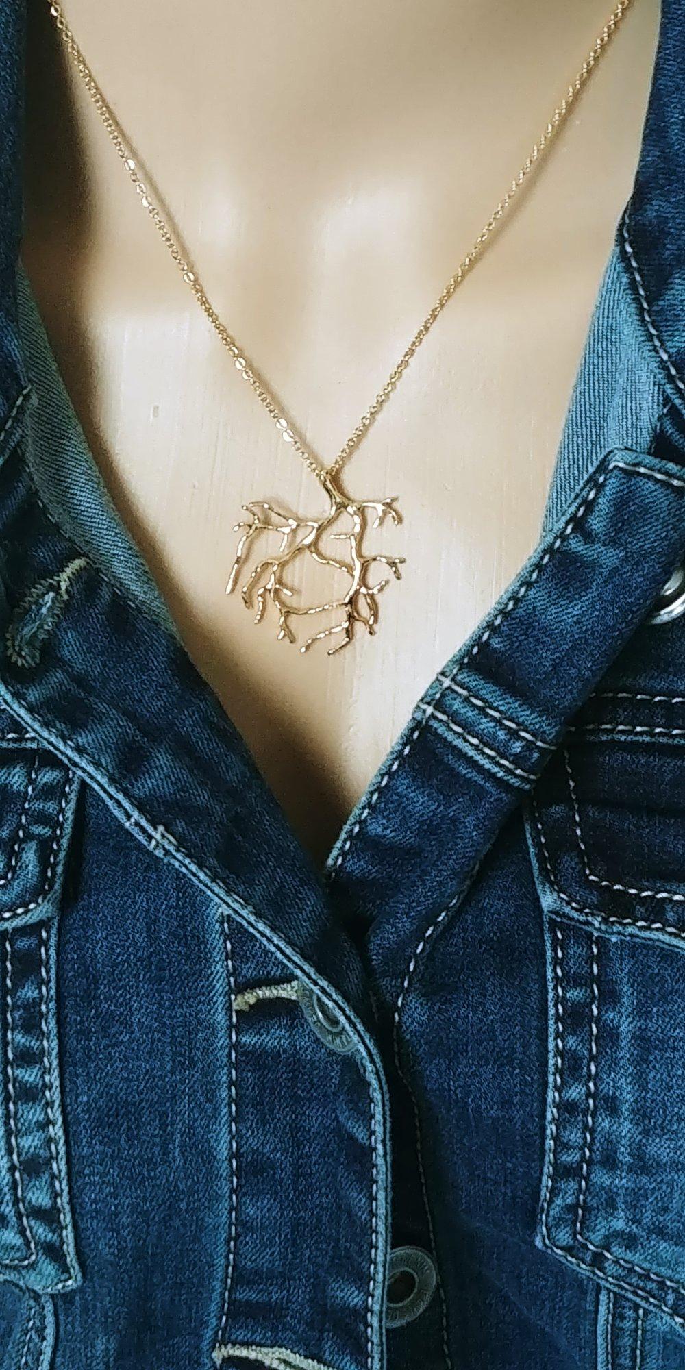 Collier corail, collier corail Or, Or fin 24 carats, collier femme, idée cadeau anniversaire femme