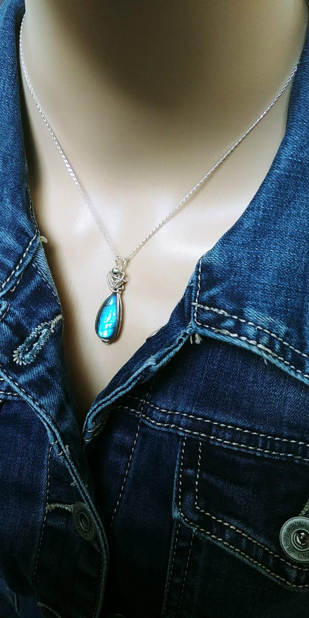 Pendentif labradorite, pendentif labradorite bleue, Argent 925, collier femme, collier pierre, idée cadeau femme