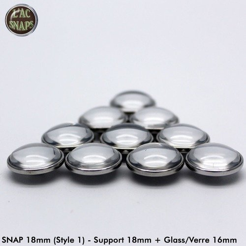 Lot 25 supports pour bouton-pression 18mm (style 1) + cabochon en verre transparent rond 16m