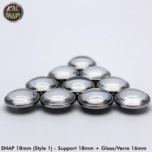 Lot 100 supports pour bouton-pression 18mm (style 1) + cabochon en verre transparent rond 16m