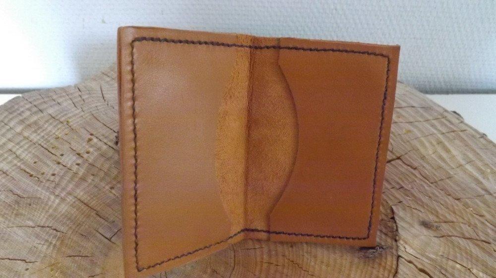 Cb02- Etui Cartes bancaires en cuir marron clair