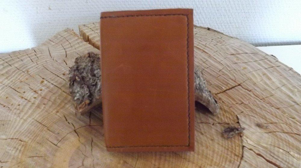 Cb08- Etui Cartes bancaires  en cuir marron
