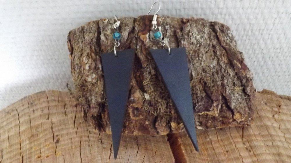 B031- Boucles d'oreilles en cuir bleu nuit et noir