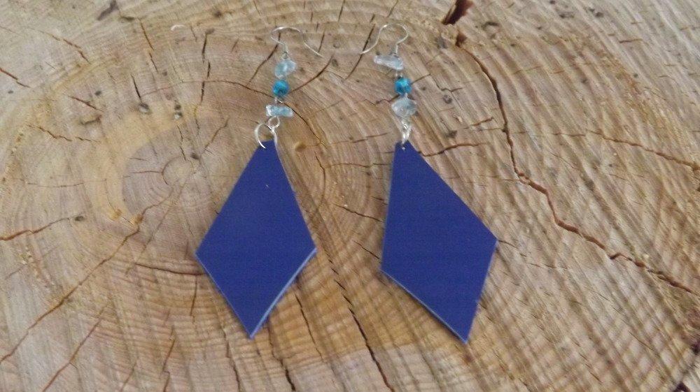 Bo44- Boucles d'oreilles en cuir bleu