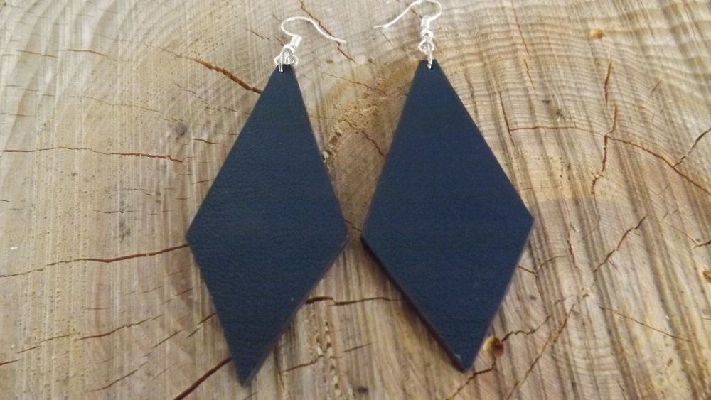 Bo30- Boucles d'oreilles en cuir bleu nuit