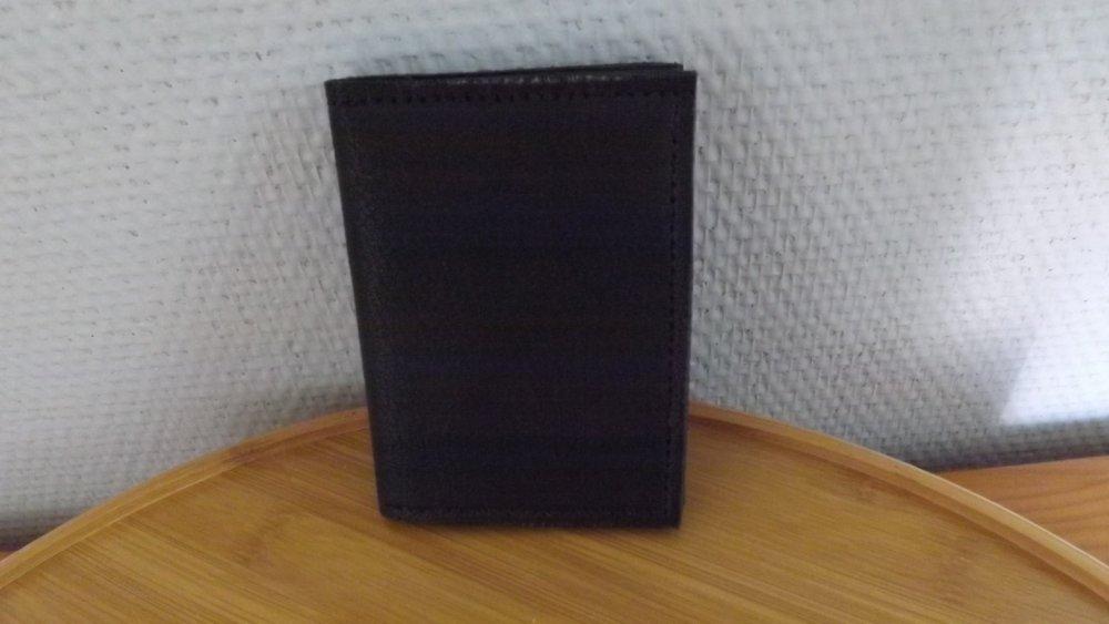 Pmo16- Porte monnaie en cuir noir