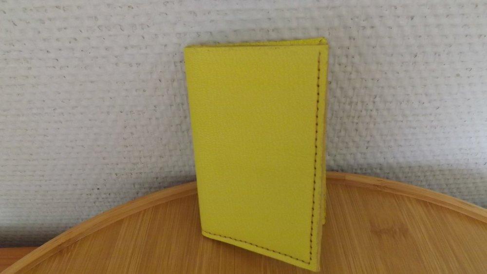 Dcb13- Etui CB double en cuir jaune