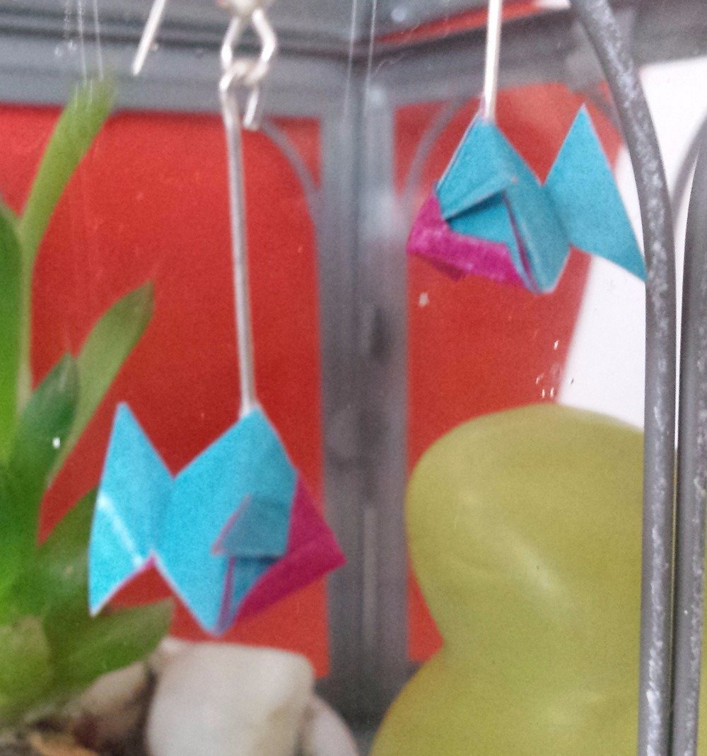 Boucles d'oreilles poissons origami