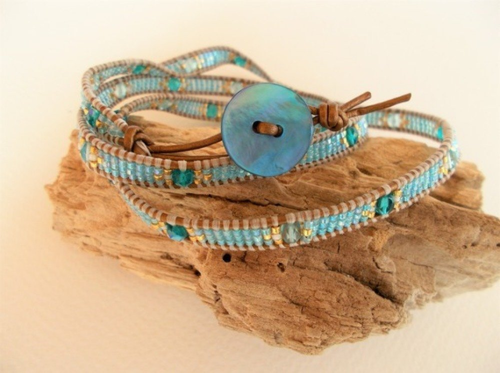 Très beau bracelet tissé 3 tours en perles miyuki