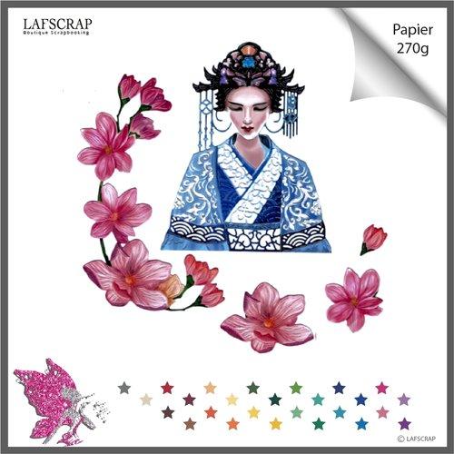 Découpe scrapbooking scrap personnage femme, asie chine fleur magnolia, frise bordure, feuille feuillage, jardin nature, die cut papier