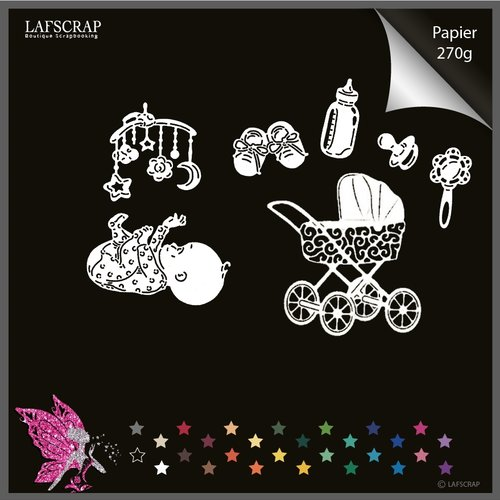 Découpes scrapbooking bébé naissance, mobile lune, fleur étoile, landau chaussures tétine, hochet, biberon découpe papier die cut