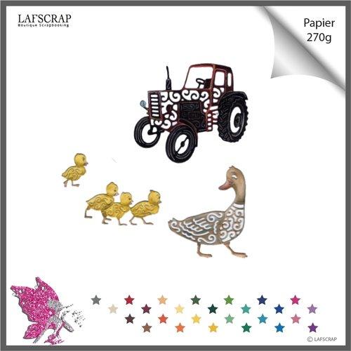 Découpes scrapbooking scrap canard animal,  tracteur véhicule, bébé naissance, nature, jardin, découpe papier die cut