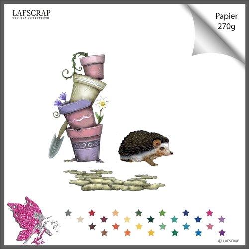 Découpes scrapbooking  pot fleur,  jardin nature, animal hérisson, découpe papier die cut scrap