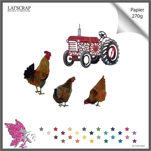 Découpes scrapbooking scrap poule, coq animal,  tracteur véhicule, fête, pâques, nature, jardin, découpe papier die cut