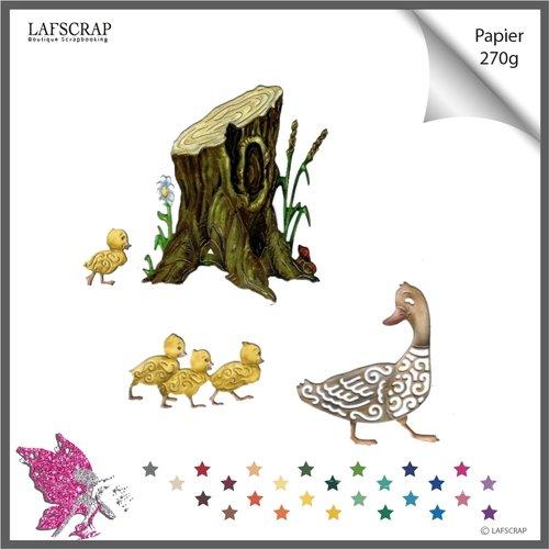 Découpes scrapbooking, tronc arbre, fleur, jardin nature, forêt, animal canard, bébé naissance, découpe papier embellissement die cut