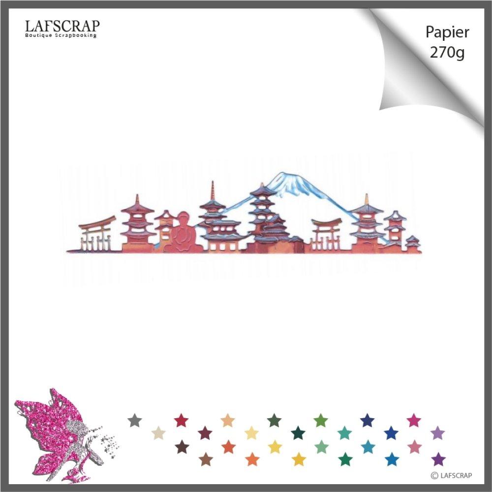 Découpe scrapbooking scrap cadre décor montagne temple maison chinoise asie chine découpe papier embellissement album création
