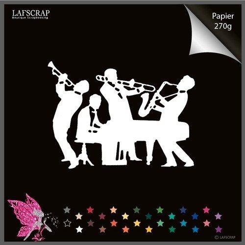 Découpe scrapbooking personnage homme musicien, musique jazz, piano instrument trompette, piano, découpe papier embellissement décoration