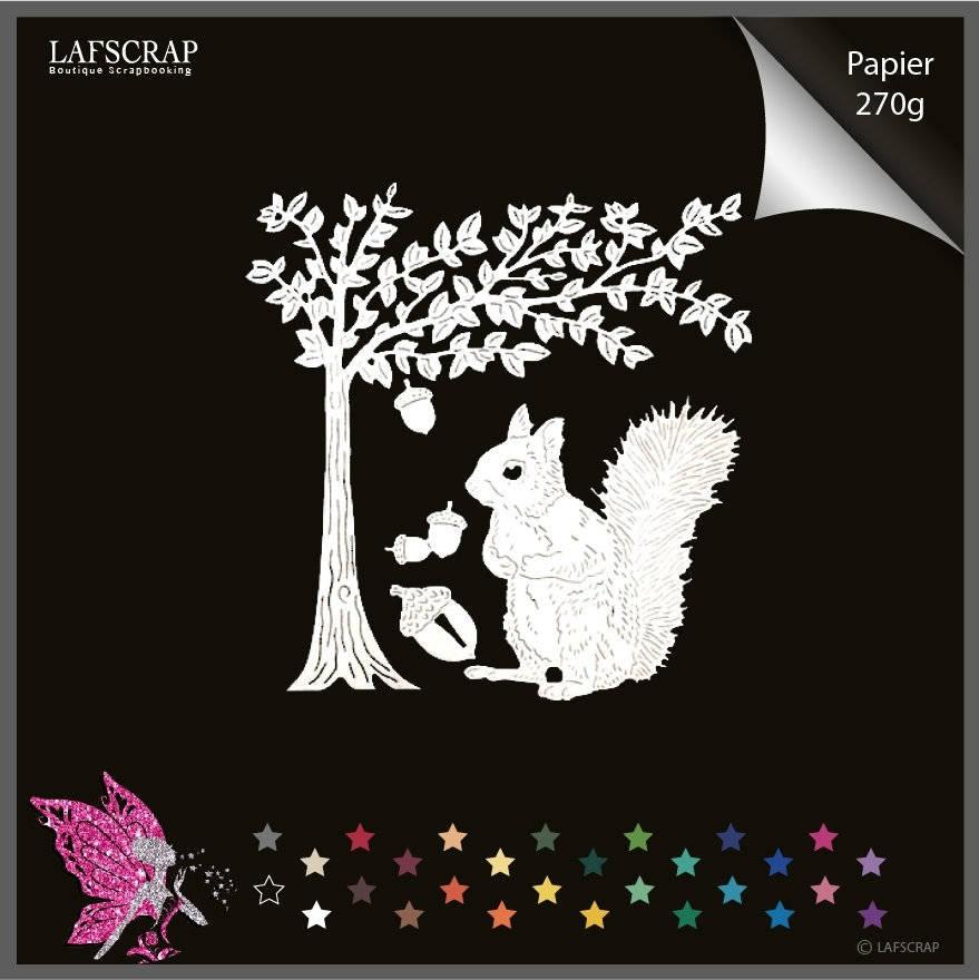 Découpe scrapbooking scrap animal écureuil noisettes arbre feuille découpe papier embellissement die cut déco