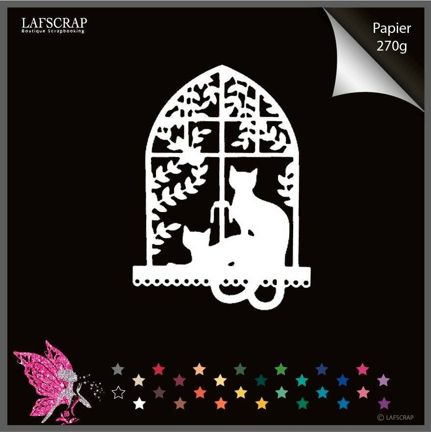Découpe scrapbooking fenêtre chat animal fleur découpe papier embellissement die cut création