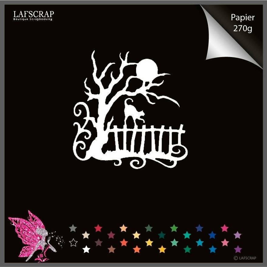 Découpe scrapbooking barrière arbre chat animal lune halloween découpe papier embellissement décoration carte