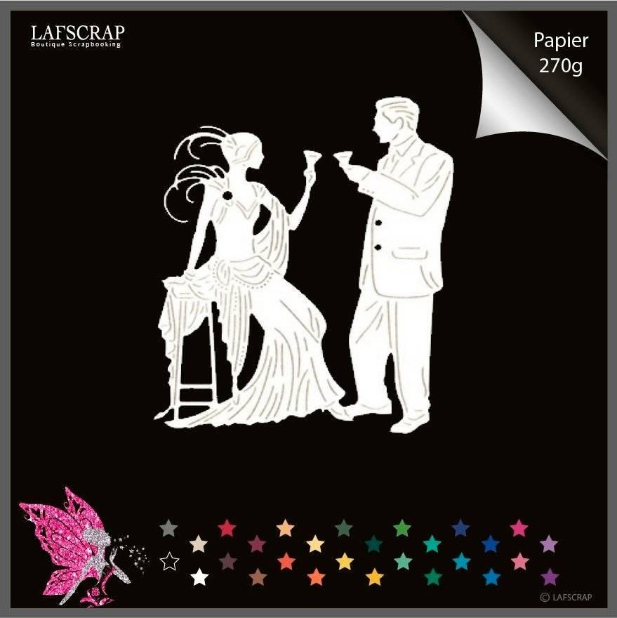 Découpe scrapbooking personnage homme femme charleston cocktail découpe papier embellissement die cut déco