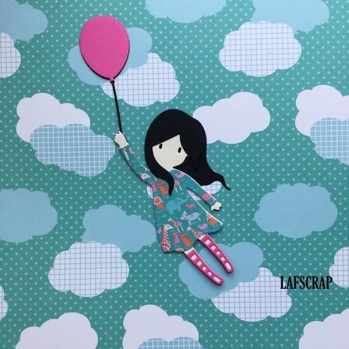 Découpe scrapbooking scrap personnage enfant petite fille ballon poupée découpe papier embellissement die cut création