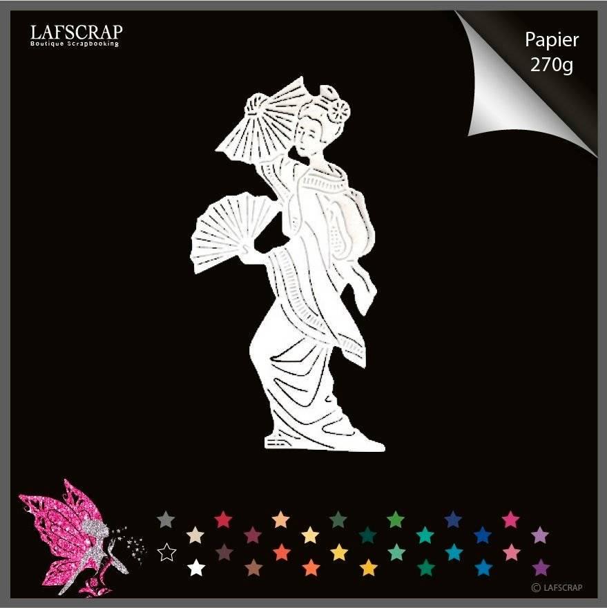 Découpe scrapbooking scrap personnage femme chine éventail kimono découpe papier embellissement die cut création
