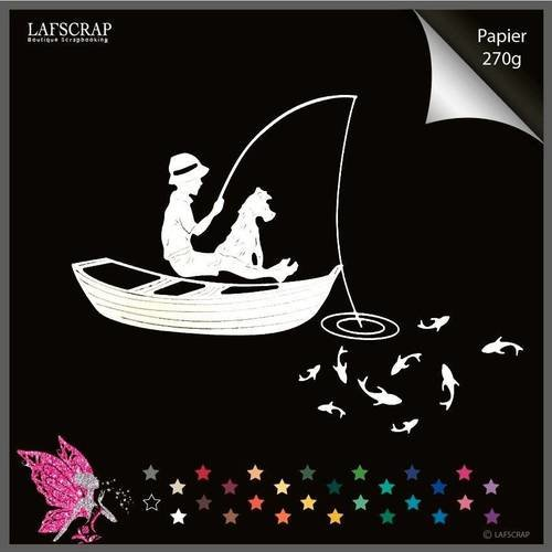 Découpes scrapbooking scrap pêche enfant chien barque bateau poisson découpe papier embellissement die cut création