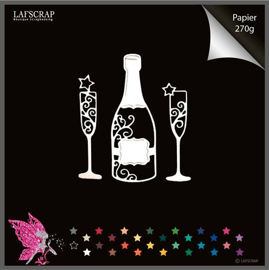 Découpes scrapbooking scrap bouteille flûtes mariage noces anniversaire découpe papier embellissement die cut création