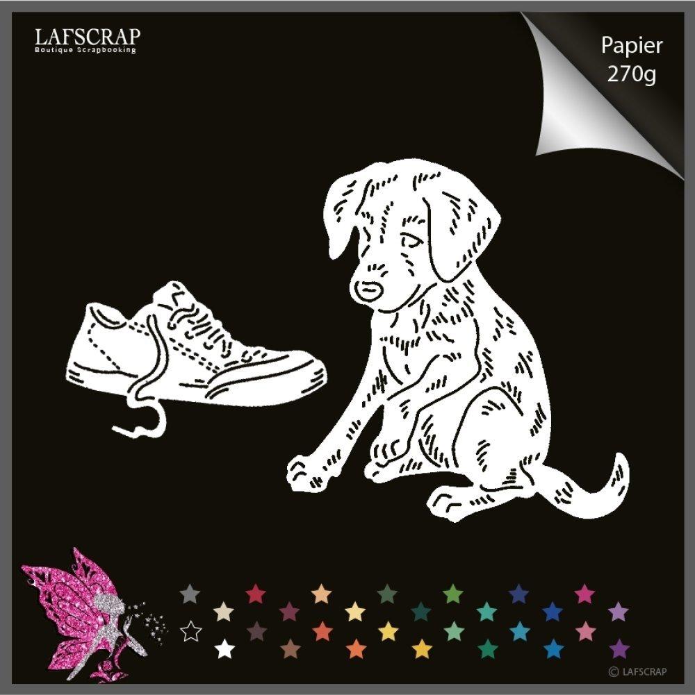 Découpes scrapbooking animal chien, chaussure, découpe papier embellissement album