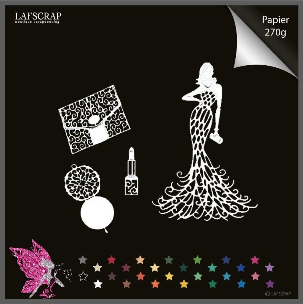 Découpes scrapbooking femme sac à main miroir rouge à lèvres glamour mariage noces robe embellissement album scrap