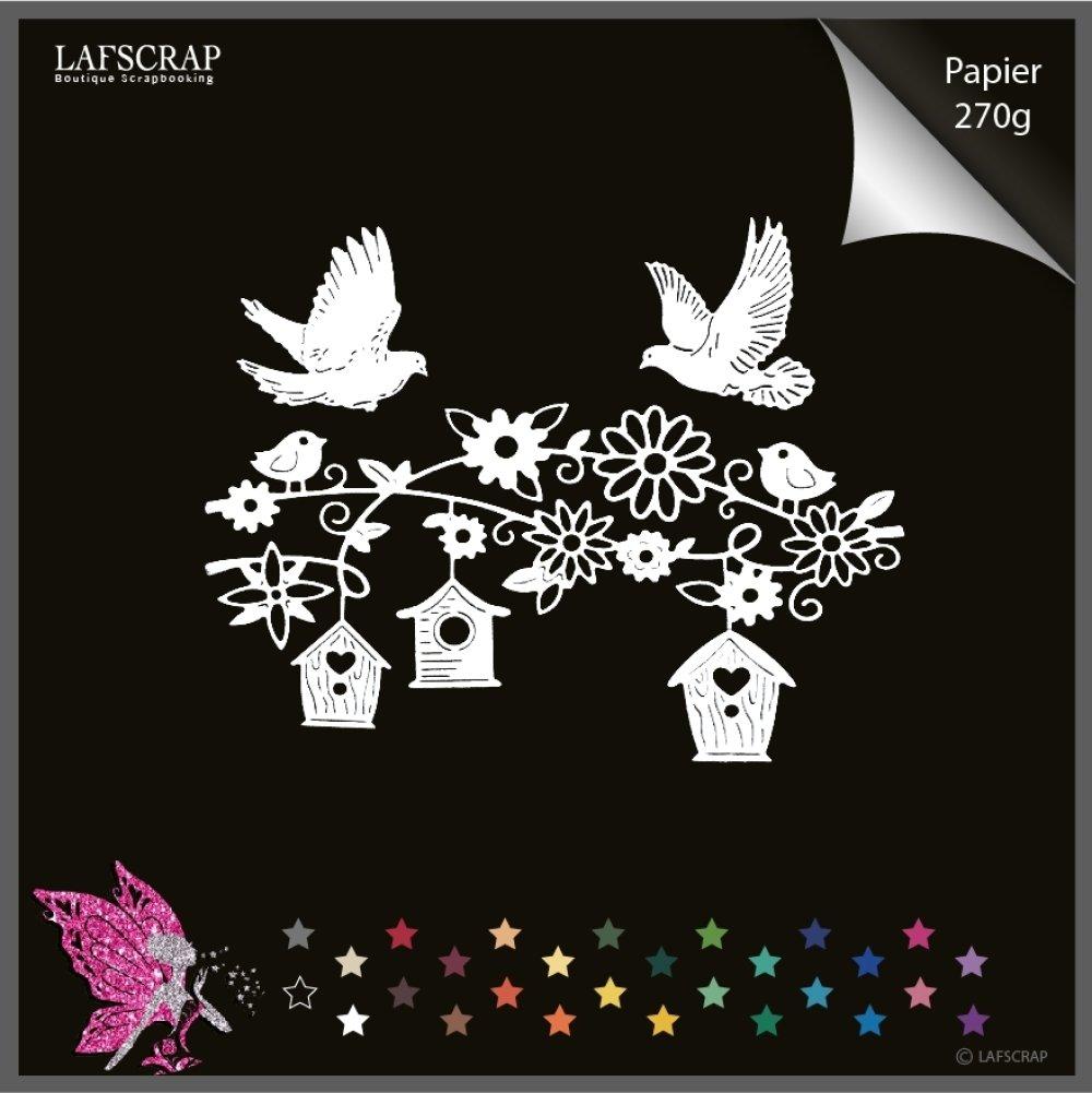 Découpes scrapbooking maison cage, colombe oiseau, fleur, jardin découpe papier embellissement carte création