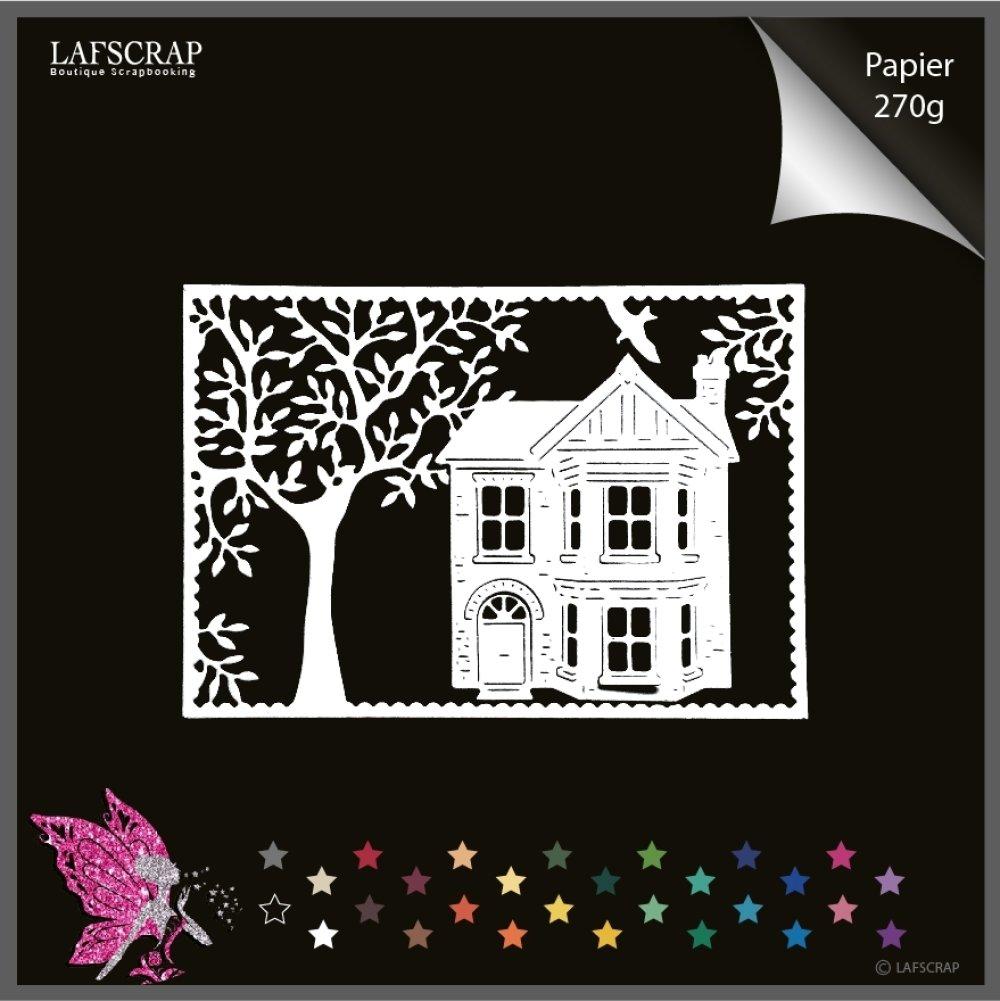 Découpes scrapbooking cadre arbre forêt oiseau animal, maison cottage découpe papier embellissement carte création